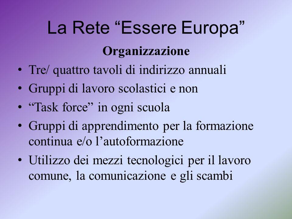 """La Rete """"Essere Europa"""" Organizzazione Tre/ quattro tavoli di indirizzo annuali Gruppi di lavoro scolastici e non """"Task force"""" in ogni scuola Gruppi d"""