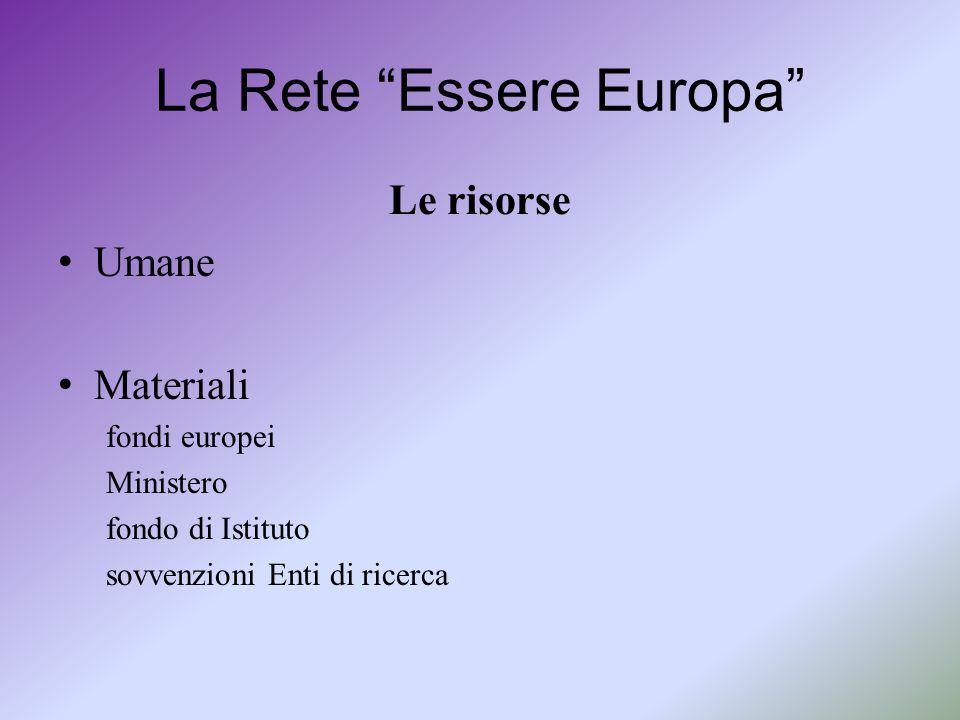 """La Rete """"Essere Europa"""" Le risorse Umane Materiali fondi europei Ministero fondo di Istituto sovvenzioni Enti di ricerca"""