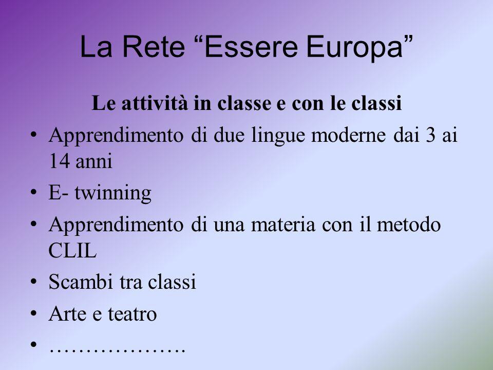"""La Rete """"Essere Europa"""" Le attività in classe e con le classi Apprendimento di due lingue moderne dai 3 ai 14 anni E- twinning Apprendimento di una ma"""