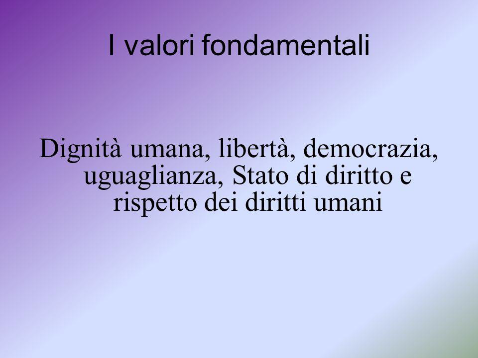 I valori fondamentali Dignità umana, libertà, democrazia, uguaglianza, Stato di diritto e rispetto dei diritti umani
