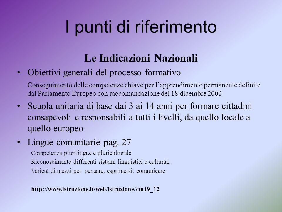 I punti di riferimento Le Indicazioni Nazionali Obiettivi generali del processo formativo Conseguimento delle competenze chiave per l'apprendimento pe