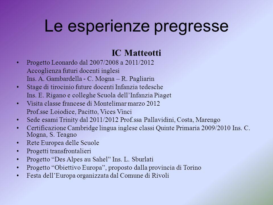 Le esperienze pregresse IC Matteotti Progetto Leonardo dal 2007/2008 a 2011/2012 Accoglienza futuri docenti inglesi Ins. A. Gambardella - C. Mogna – R