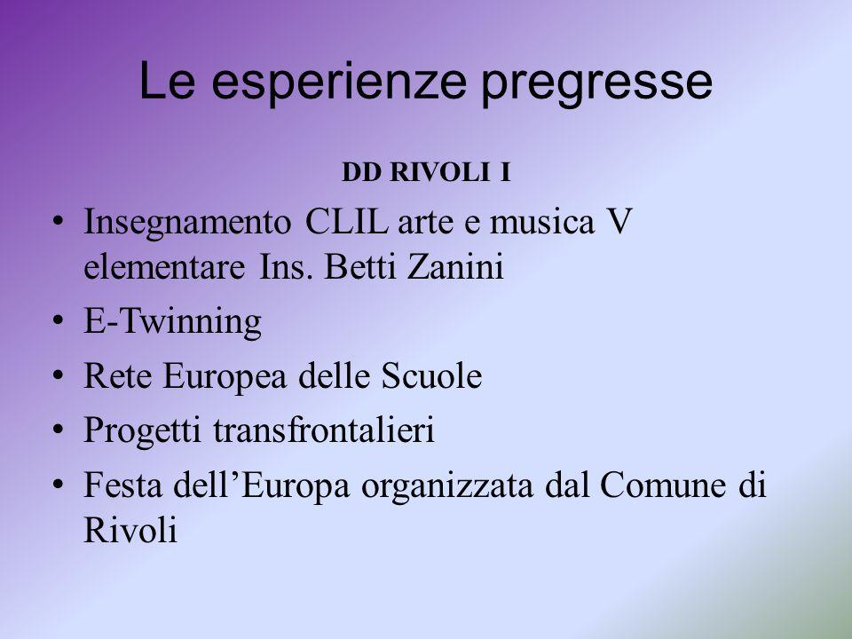 Le esperienze pregresse DD RIVOLI I Insegnamento CLIL arte e musica V elementare Ins. Betti Zanini E-Twinning Rete Europea delle Scuole Progetti trans
