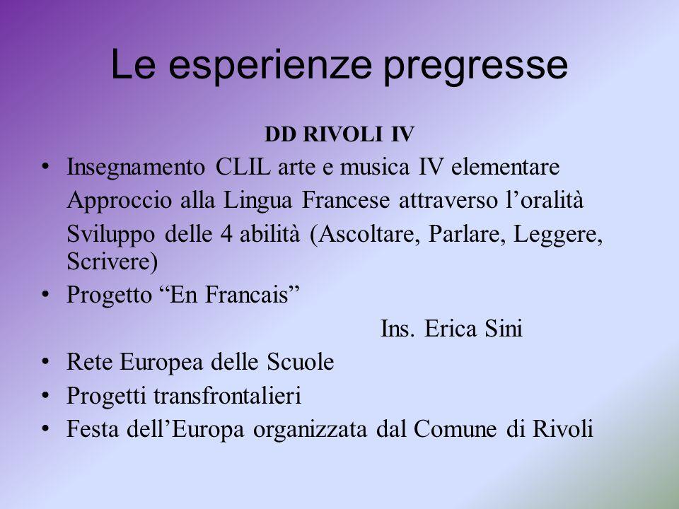 Le esperienze pregresse DD RIVOLI IV Insegnamento CLIL arte e musica IV elementare Approccio alla Lingua Francese attraverso l'oralità Sviluppo delle