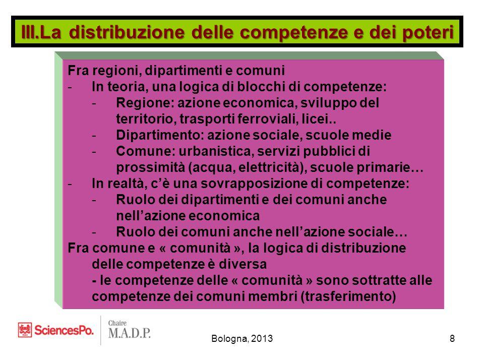 Bologna, 20138 Fra regioni, dipartimenti e comuni -In teoria, una logica di blocchi di competenze: -Regione: azione economica, sviluppo del territorio, trasporti ferroviali, licei..