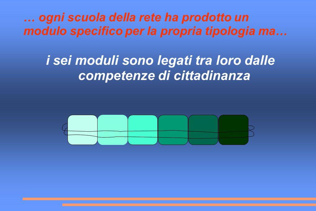 … ogni scuola della rete ha prodotto un modulo specifico per la propria tipologia ma… i sei moduli sono legati tra loro dalle competenze di cittadinanza