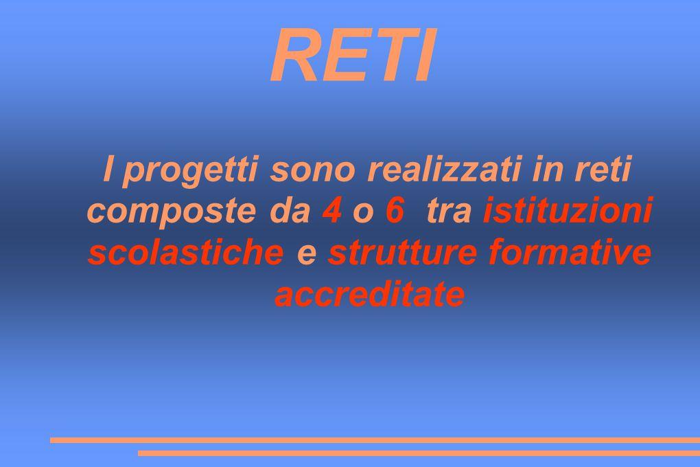 RETI I progetti sono realizzati in reti composte da 4 o 6 tra istituzioni scolastiche e strutture formative accreditate