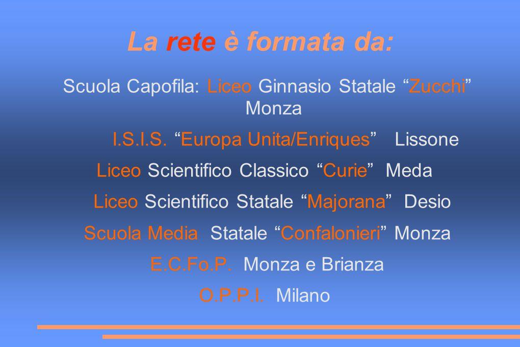 La rete è formata da: Scuola Capofila: Liceo Ginnasio Statale Zucchi Monza I.S.I.S.