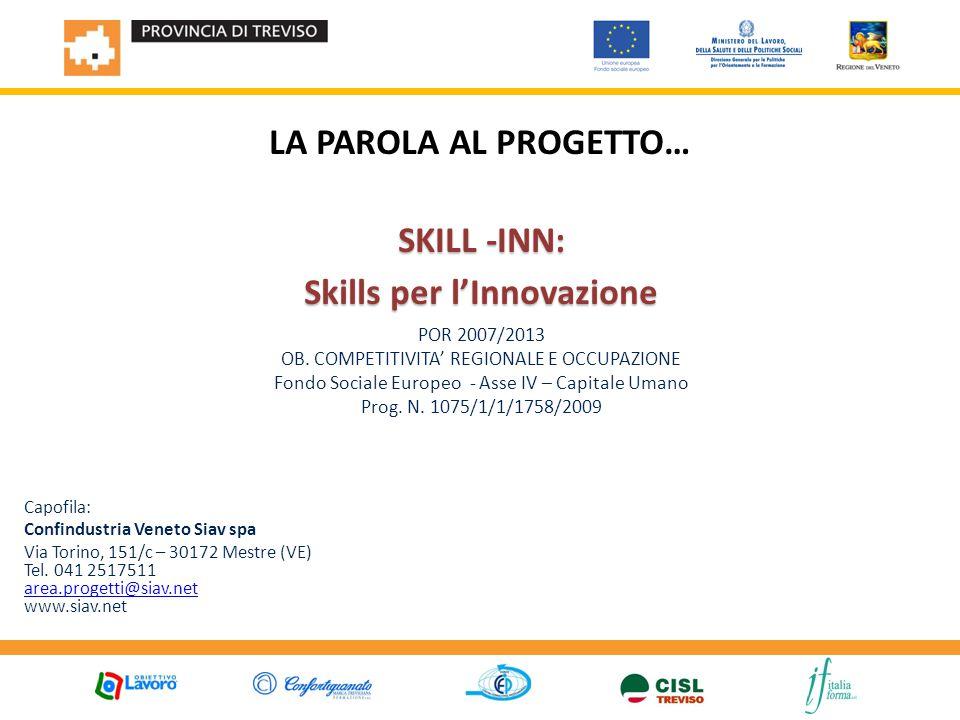 LA PAROLA AL PROGETTO… SKILL -INN: Skills per l'Innovazione POR 2007/2013 OB.