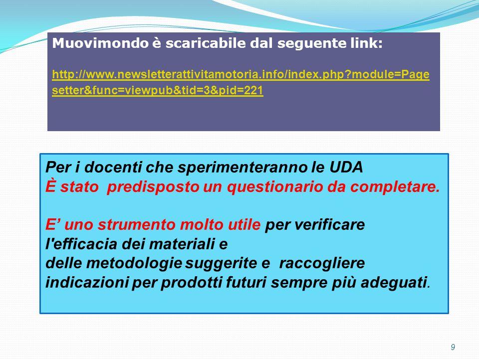 9 Muovimondo è scaricabile dal seguente link: http://www.newsletterattivitamotoria.info/index.php?module=Page setter&func=viewpub&tid=3&pid=221 Per i