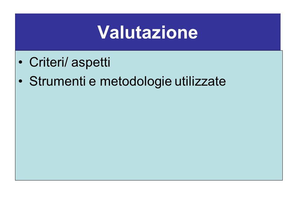 Valutazione Criteri/ aspetti Strumenti e metodologie utilizzate
