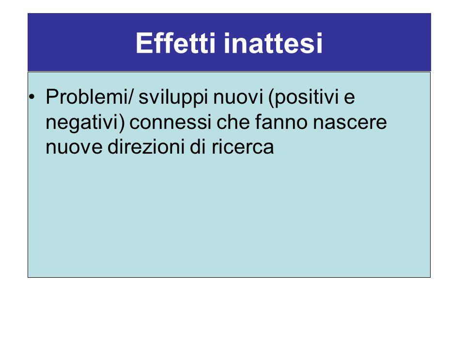 Effetti inattesi Problemi/ sviluppi nuovi (positivi e negativi) connessi che fanno nascere nuove direzioni di ricerca