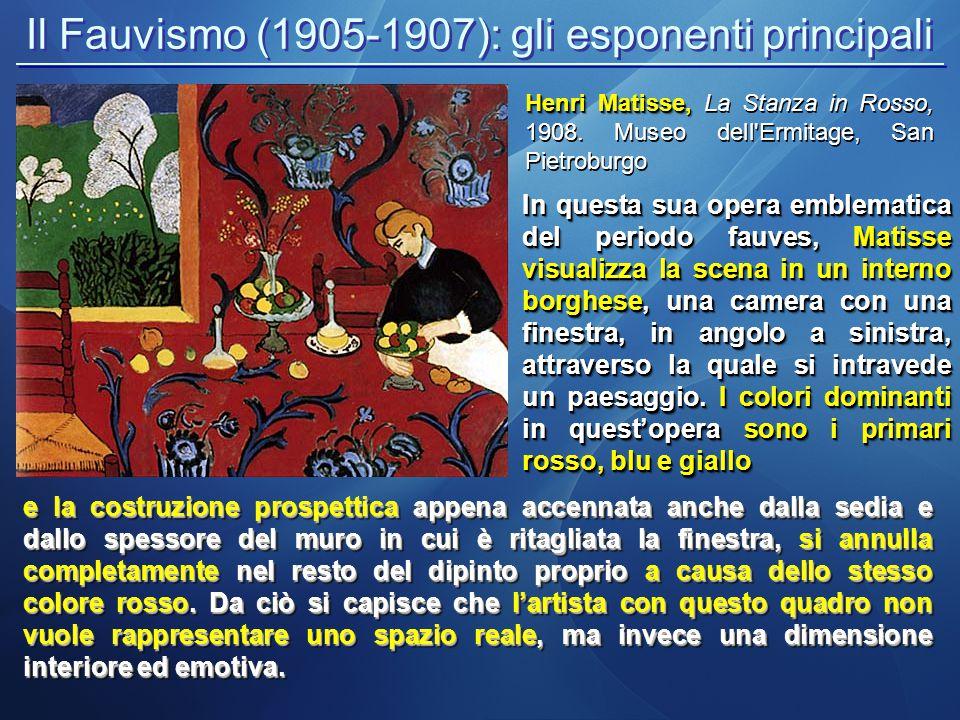 Il Fauvismo (1905-1907): gli esponenti principali In questa sua opera emblematica del periodo fauves, Matisse visualizza la scena in un interno borghese, una camera con una finestra, in angolo a sinistra, attraverso la quale si intravede un paesaggio.