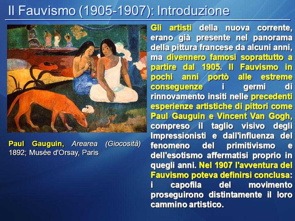 Il Fauvismo (1905-1907): la tecnica e i colori Caratteristica principale di questa corrente, non fu la scelta dei soggetti e temi delle loro opere, ma l aver superato il concetto dell'arte legata all imitazione naturalistica della realtà.