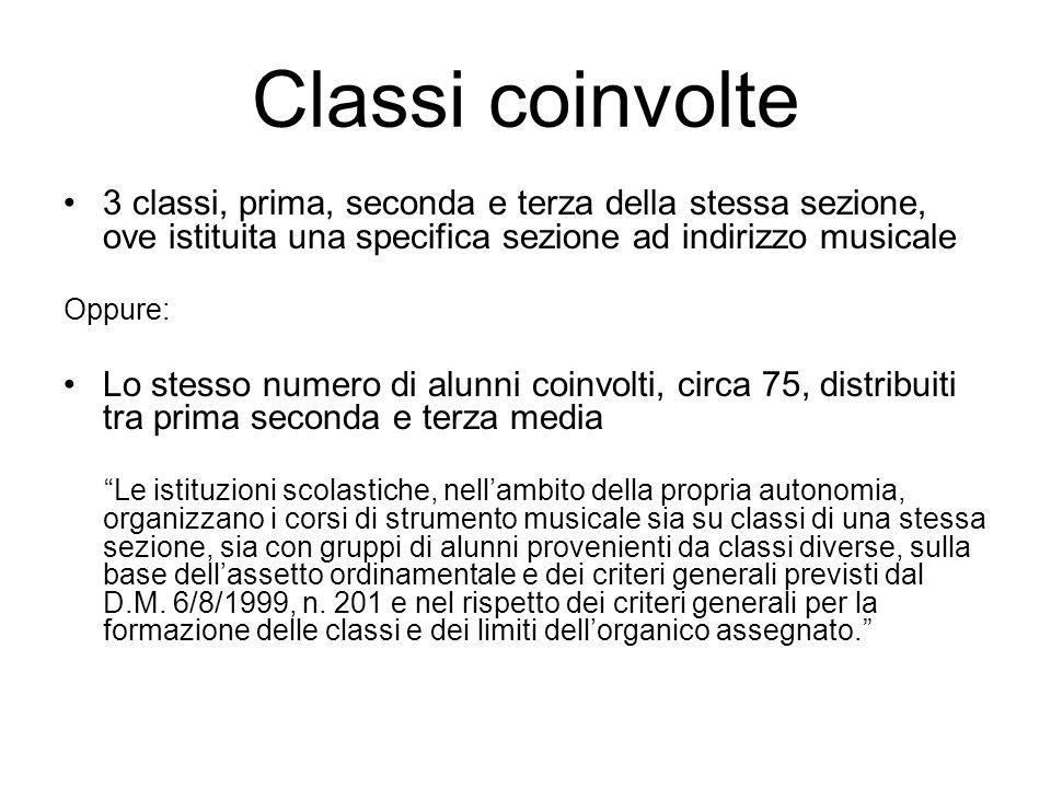 Classi coinvolte 3 classi, prima, seconda e terza della stessa sezione, ove istituita una specifica sezione ad indirizzo musicale Oppure: Lo stesso nu