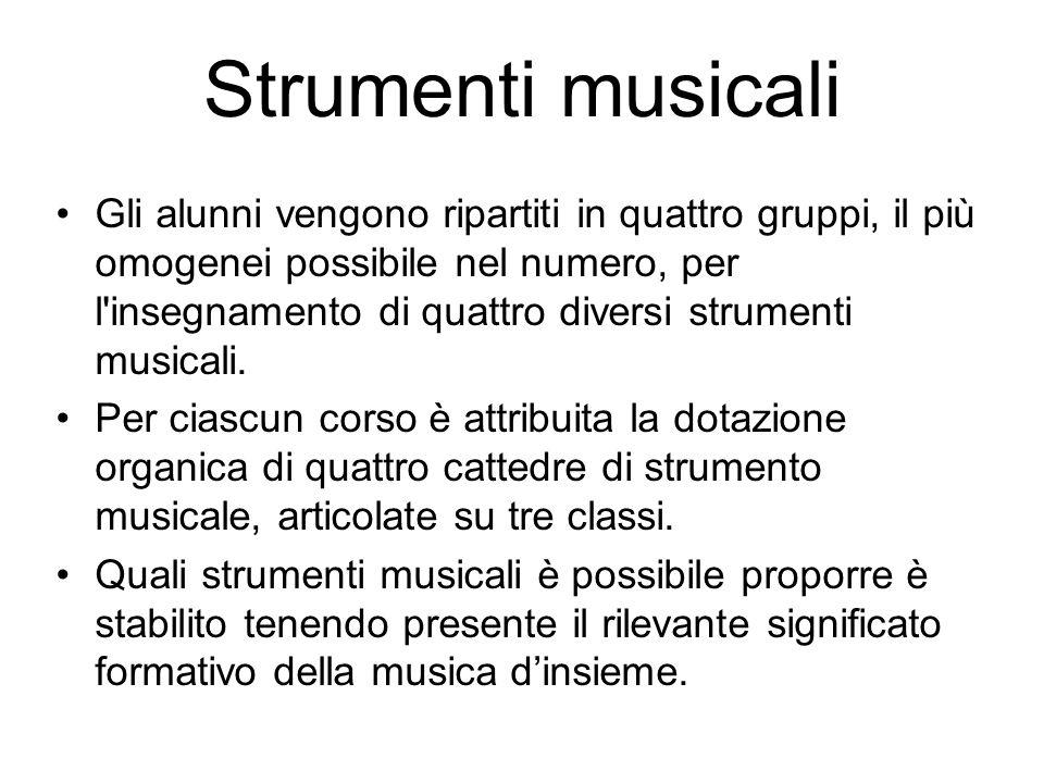 Strumenti musicali Gli alunni vengono ripartiti in quattro gruppi, il più omogenei possibile nel numero, per l'insegnamento di quattro diversi strumen