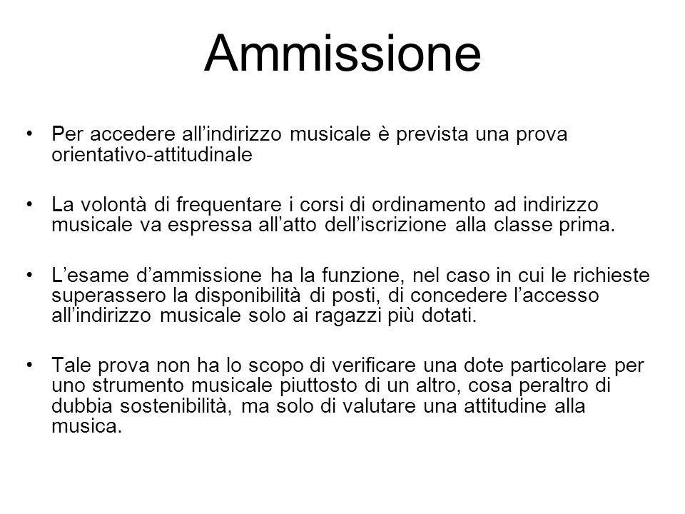 Ammissione Per accedere all'indirizzo musicale è prevista una prova orientativo-attitudinale La volontà di frequentare i corsi di ordinamento ad indir