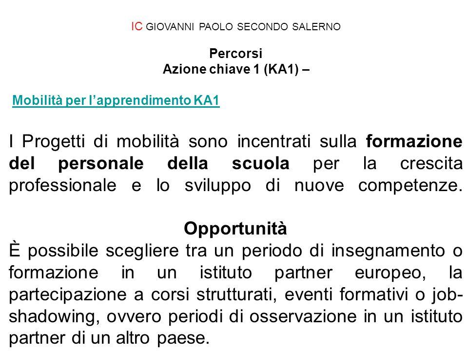 IC GIOVANNI PAOLO SECONDO SALERNO Percorsi Azione chiave 1 (KA1) – Mobilità per l'apprendimento KA1Mobilità per l'apprendimento KA1 I Progetti di mobi
