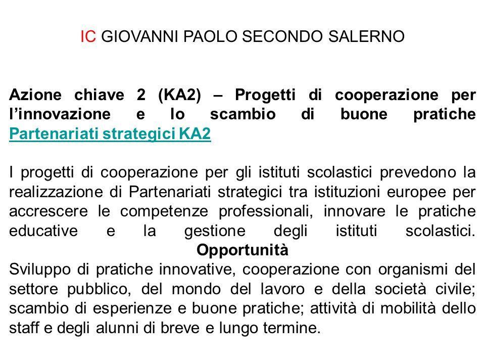 IC GIOVANNI PAOLO SECONDO SALERNO Azione chiave 2 (KA2) – Progetti di cooperazione per l'innovazione e lo scambio di buone pratiche Partenariati strat