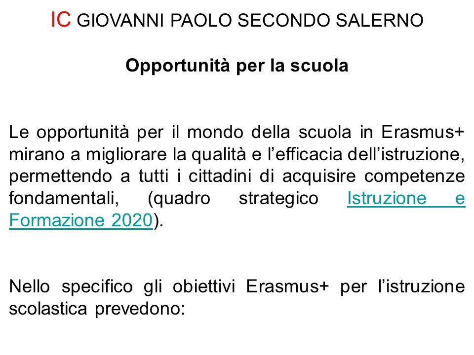 Opportunità per la scuola Le opportunità per il mondo della scuola in Erasmus+ mirano a migliorare la qualità e l'efficacia dell'istruzione, permetten