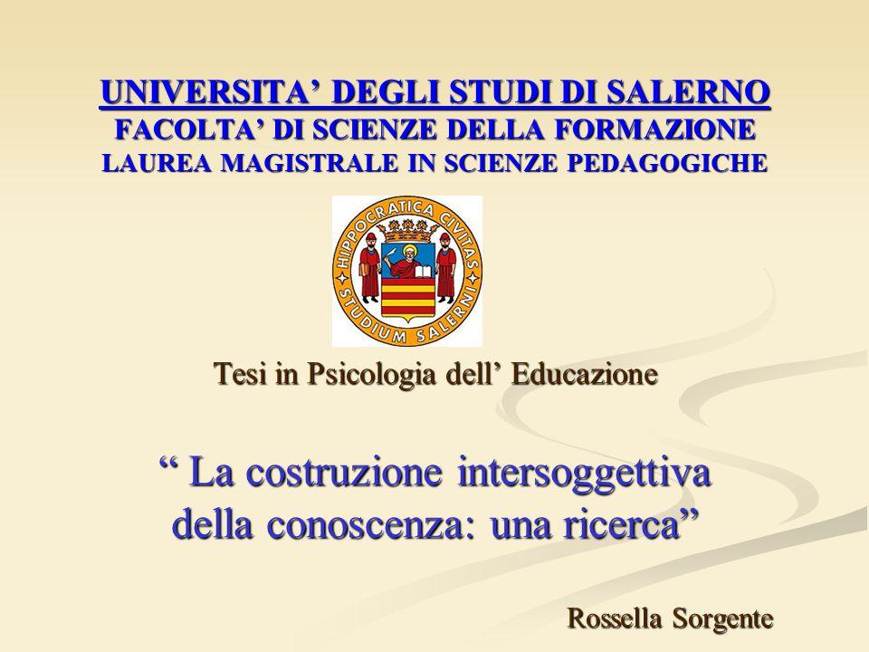 """UNIVERSITA' DEGLI STUDI DI SALERNO FACOLTA' DI SCIENZE DELLA FORMAZIONE LAUREA MAGISTRALE IN SCIENZE PEDAGOGICHE Tesi in Psicologia dell' Educazione """""""