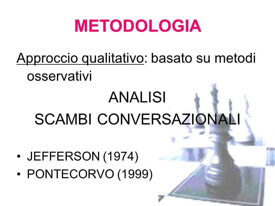 METODOLOGIA Approccio qualitativo: basato su metodi osservativi ANALISI SCAMBI CONVERSAZIONALI JEFFERSON (1974) PONTECORVO (1999)