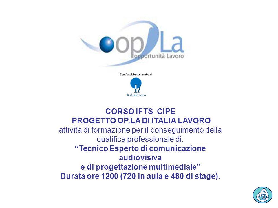 """CORSO IFTS CIPE PROGETTO OP.LA DI ITALIA LAVORO attività di formazione per il conseguimento della qualifica professionale di: """"Tecnico Esperto di comu"""