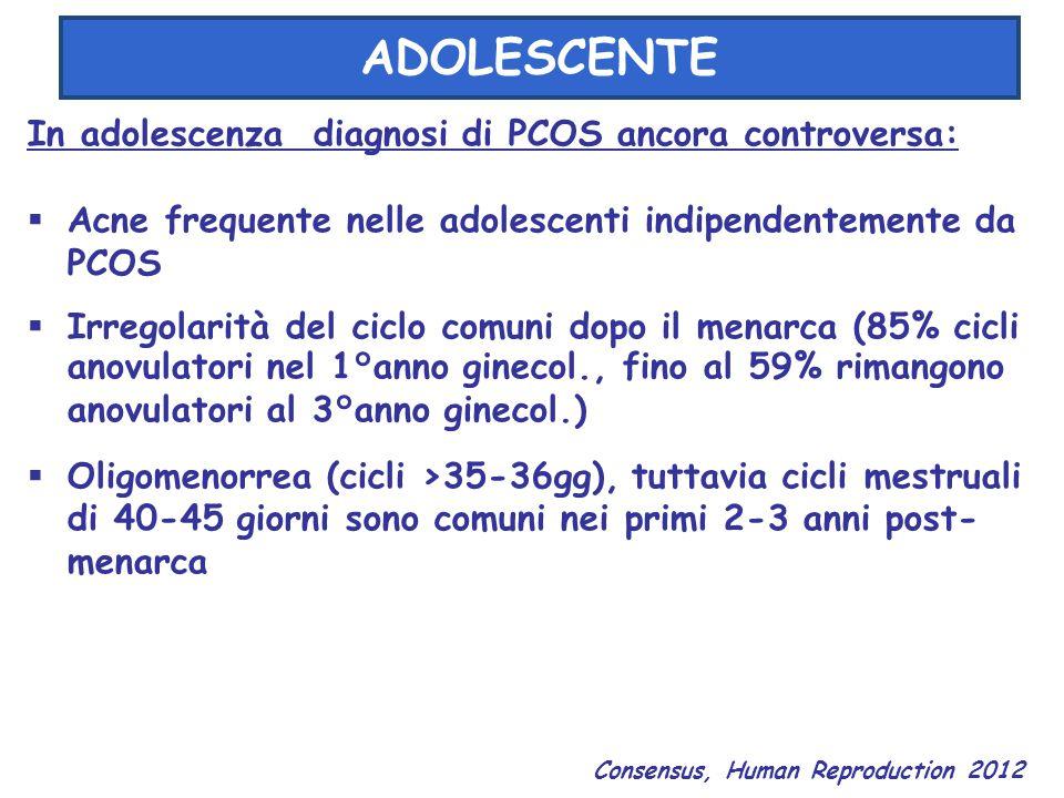 ADOLESCENTE In adolescenza diagnosi di PCOS ancora controversa:  Acne frequente nelle adolescenti indipendentemente da PCOS  Irregolarità del ciclo