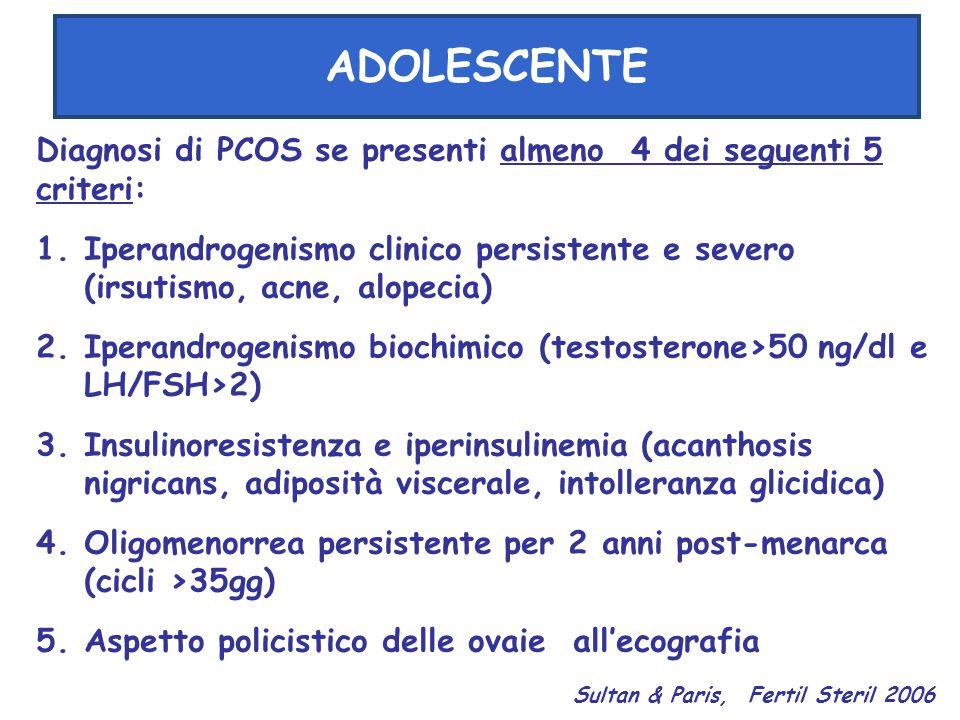ADOLESCENTE Diagnosi di PCOS se presenti almeno 4 dei seguenti 5 criteri: 1.Iperandrogenismo clinico persistente e severo (irsutismo, acne, alopecia)
