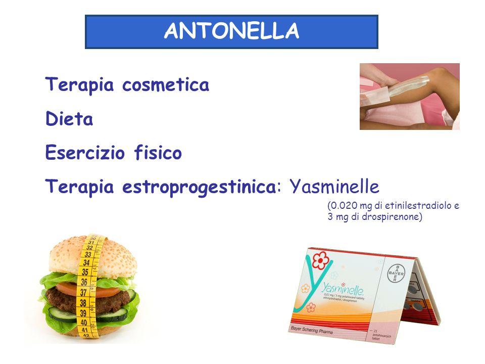 Terapia cosmetica Dieta Esercizio fisico Terapia estroprogestinica: Yasminelle ANTONELLA (0.020 mg di etinilestradiolo e 3 mg di drospirenone)