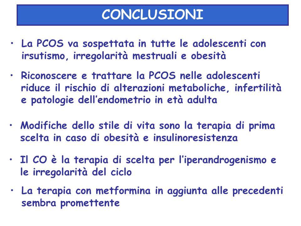 La PCOS va sospettata in tutte le adolescenti con irsutismo, irregolarità mestruali e obesità CONCLUSIONI Riconoscere e trattare la PCOS nelle adolesc