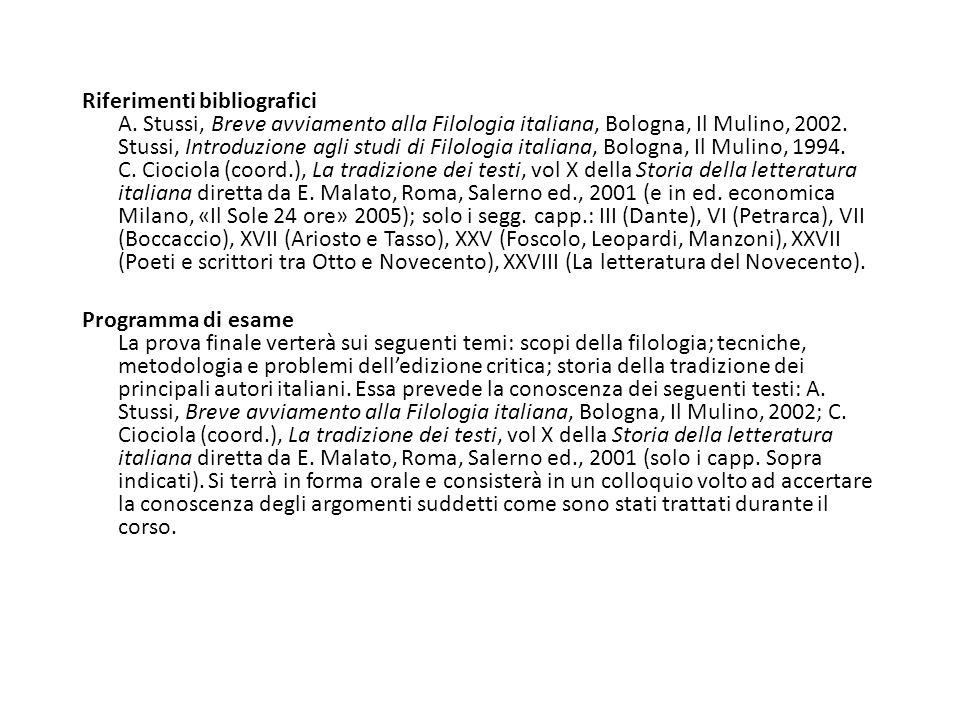 Riferimenti bibliografici A.