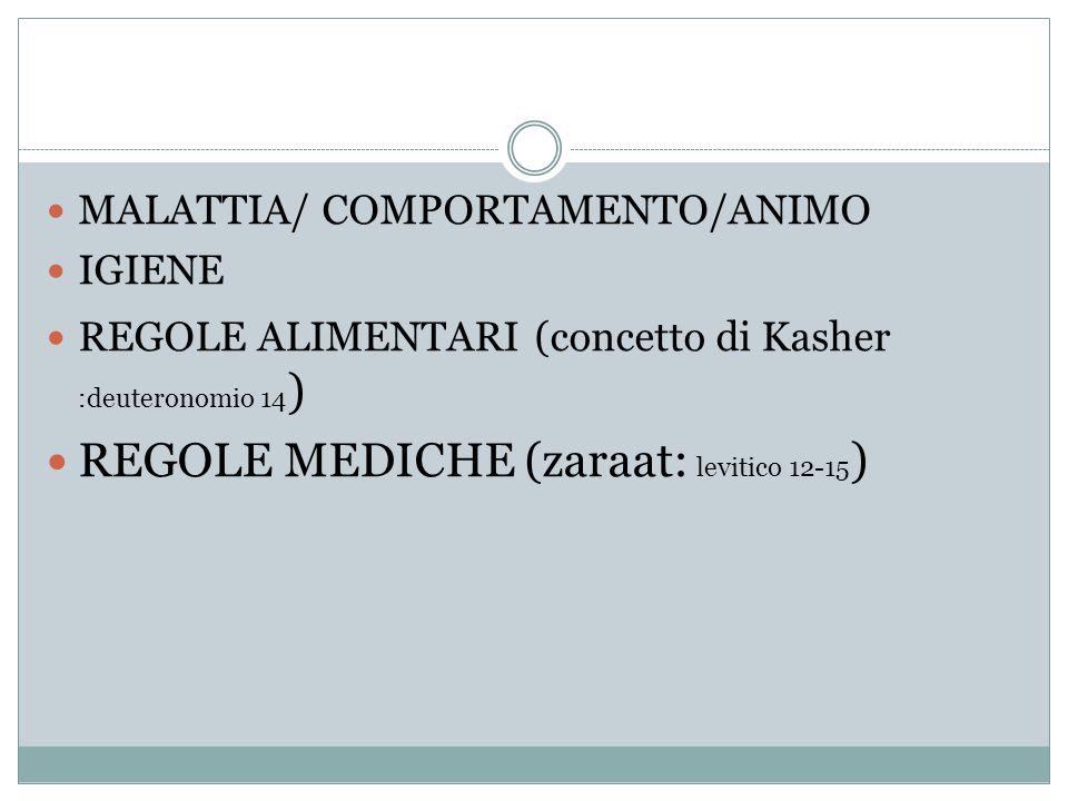 MALATTIA/ COMPORTAMENTO/ANIMO IGIENE REGOLE ALIMENTARI (concetto di Kasher :deuteronomio 14 ) REGOLE MEDICHE (zaraat: levitico 12-15 )