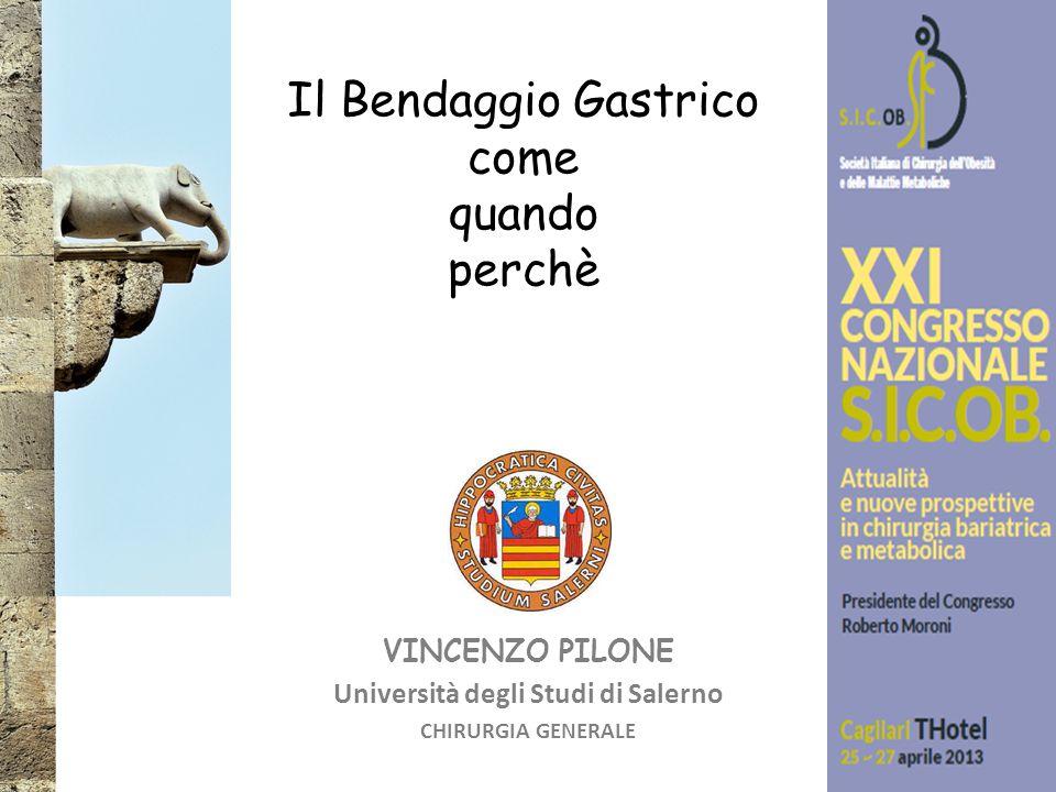 VINCENZO PILONE Università degli Studi di Salerno CHIRURGIA GENERALE Il Bendaggio Gastrico come quando perchè