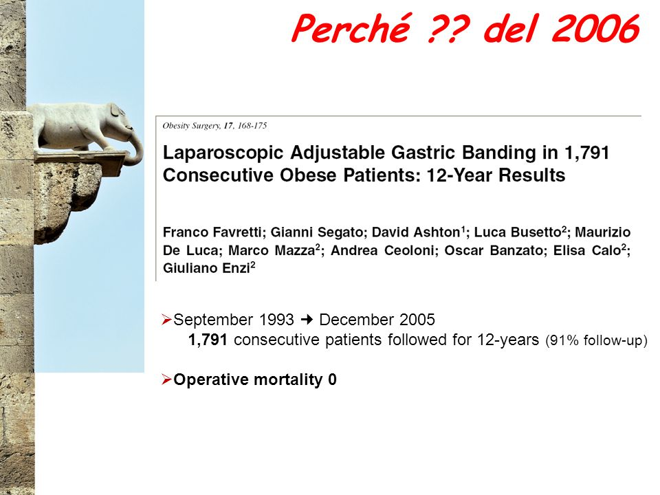 Perché ?? del 2006  September 1993 December 2005 1,791 consecutive patients followed for 12-years (91% follow-up)  Operative mortality 0