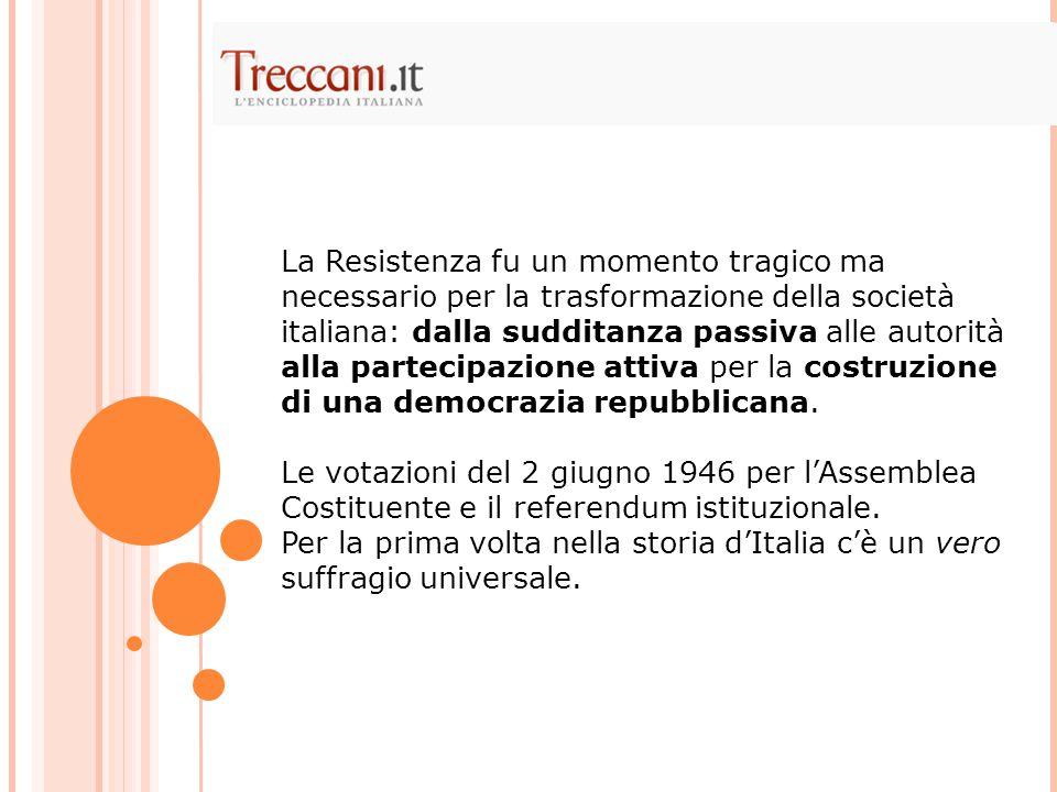 La Resistenza fu un momento tragico ma necessario per la trasformazione della società italiana: dalla sudditanza passiva alle autorità alla partecipaz