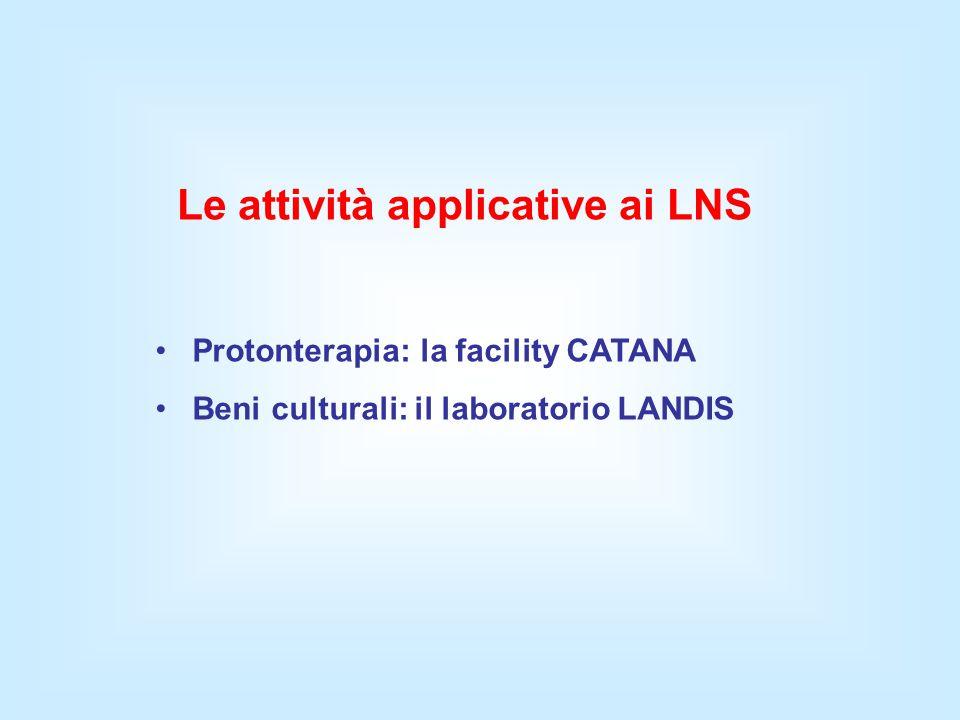 Le attività applicative ai LNS Protonterapia: la facility CATANA Beni culturali: il laboratorio LANDIS