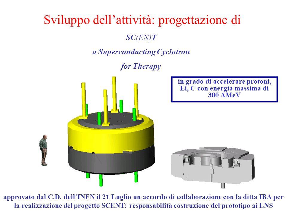 SC(EN)T a Superconducting Cyclotron for Therapy in grado di accelerare protoni, Li, C con energia massima di 300 AMeV Sviluppo dell'attività: progettazione di approvato dal C.D.