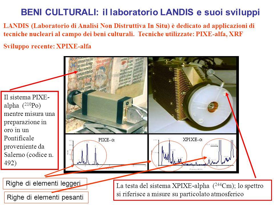 Il sistema PIXE- alpha ( 210 Po) mentre misura una preparazione in oro in un Pontificale proveniente da Salerno (codice n.