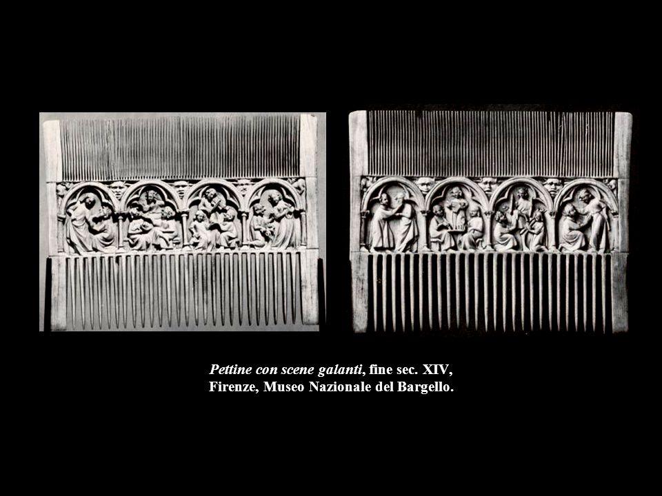 Pettine con scene galanti, fine sec. XIV, Firenze, Museo Nazionale del Bargello.