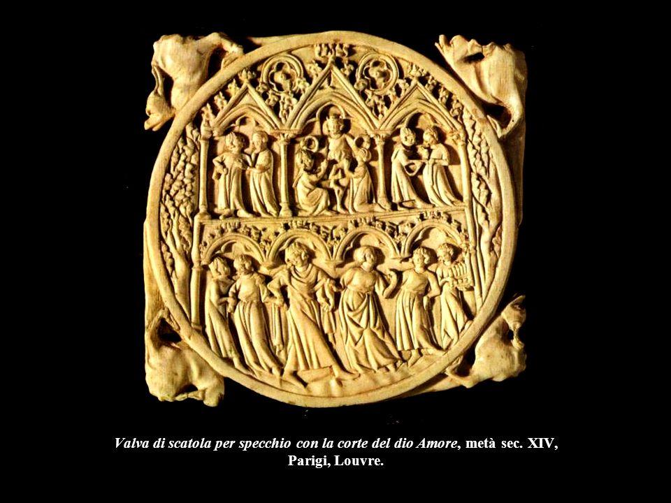 Valva di scatola per specchio con la corte del dio Amore, metà sec. XIV, Parigi, Louvre.
