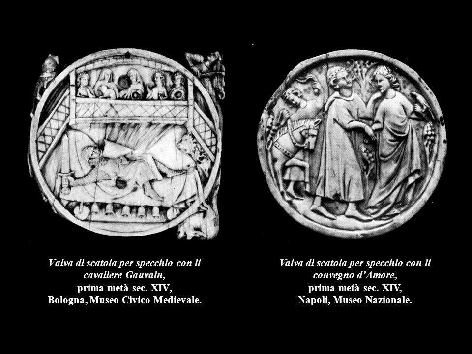Valva di scatola per specchio con il cavaliere Gauvain, prima metà sec. XIV, Bologna, Museo Civico Medievale. Valva di scatola per specchio con il con
