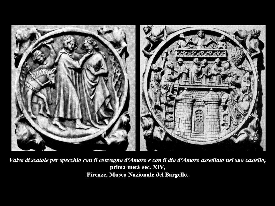 Valve di scatole per specchio con il convegno d'Amore e con il dio d'Amore assediato nel suo castello, prima metà sec. XIV, Firenze, Museo Nazionale d