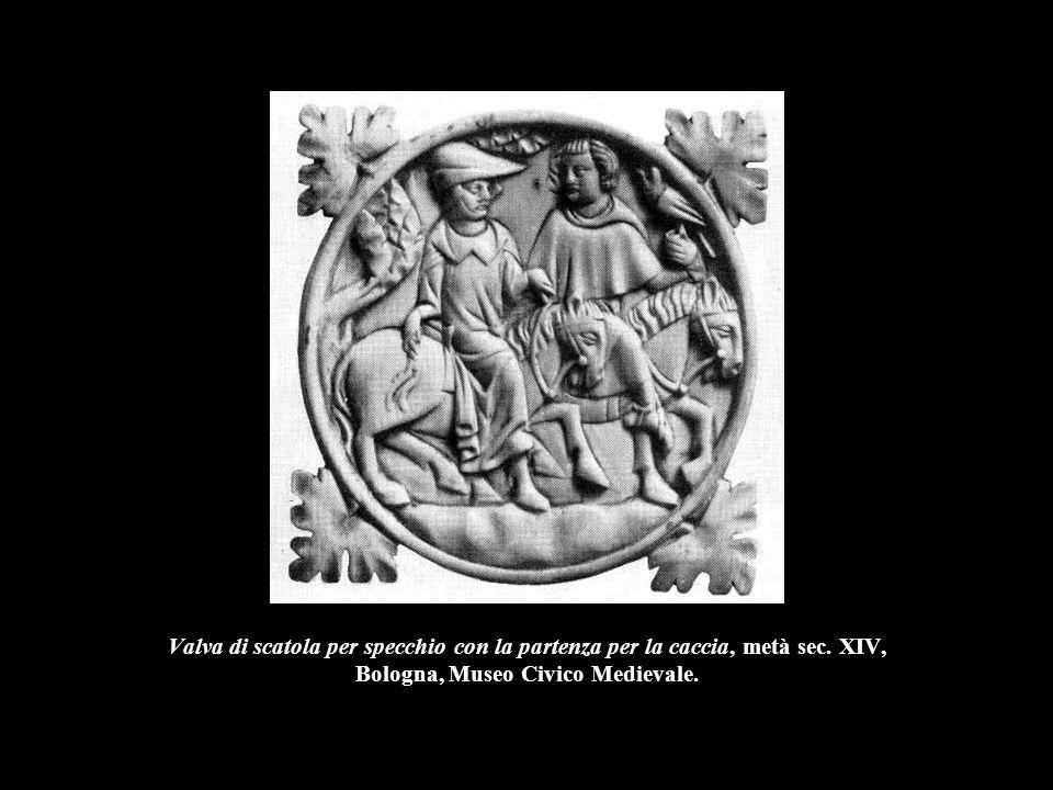Valva di scatola per specchio con la partenza per la caccia, metà sec. XIV, Bologna, Museo Civico Medievale.