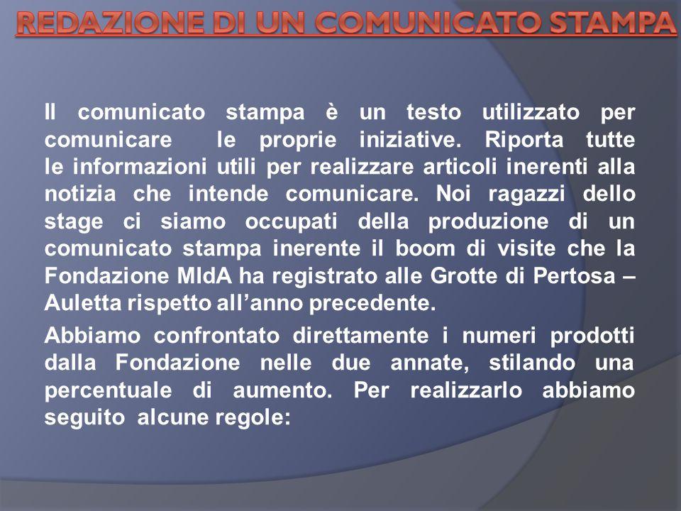 Il comunicato stampa è un testo utilizzato per comunicare le proprie iniziative.