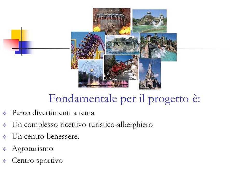 Fondamentale per il progetto è:  Parco divertimenti a tema  Un complesso ricettivo turistico-alberghiero  Un centro benessere.