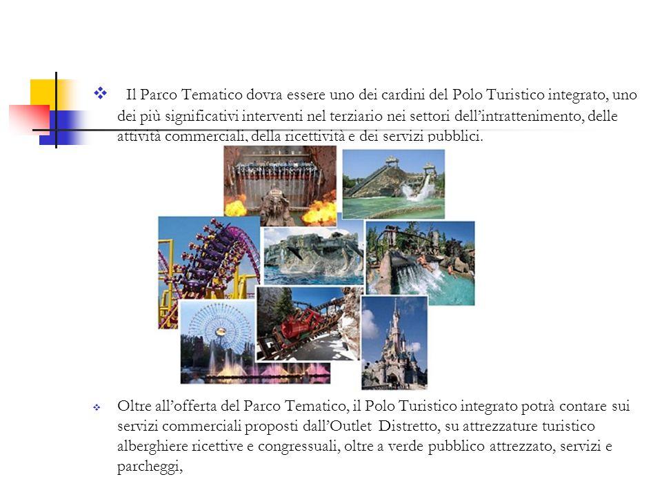  Il Parco Tematico dovra essere uno dei cardini del Polo Turistico integrato, uno dei più significativi interventi nel terziario nei settori dell'intrattenimento, delle attività commerciali, della ricettività e dei servizi pubblici.