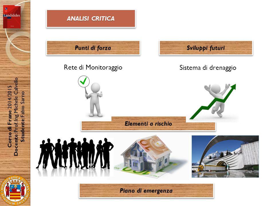 ANALISI CRITICA Punti di forza Corso di Frane 2014/2015 Docente: Prof.
