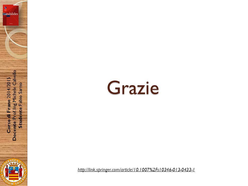 Grazie Corso di Frane 2014/2015 Docente: Prof. Ing. Michele Calvello Studente: Fabio Sarno http://link.springer.com/article/10.1007%2Fs10346-013-0433-