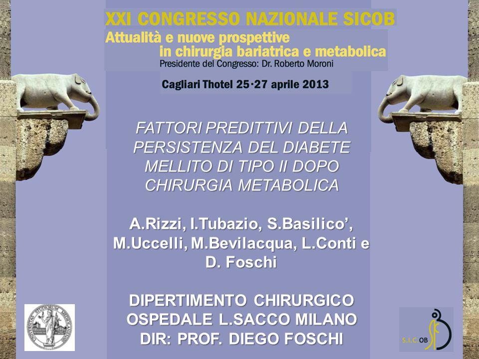 FATTORI PREDITTIVI DELLA PERSISTENZA DEL DIABETE MELLITO DI TIPO II DOPO CHIRURGIA METABOLICA A.Rizzi, I.Tubazio, S.Basilico', M.Uccelli, M.Bevilacqua, L.Conti e D.